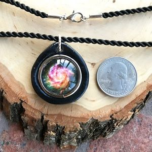 Handmade polymer clay galaxy milkyway necklace